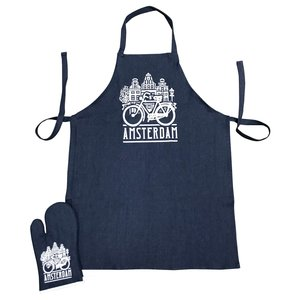 Typisch Hollands Kitchen set-2 parts (apron and oven glove) Bicycle and facade houses