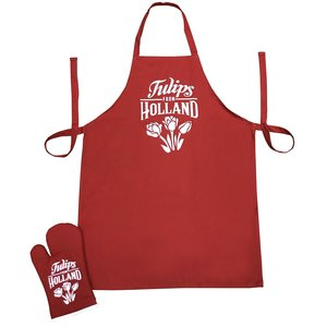 Typisch Hollands Kitchen set-2 pieces (apron and oven glove) Red-White