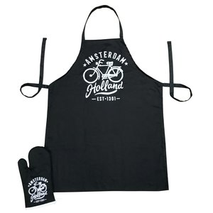 Typisch Hollands Kitchen set-2 parts (apron and oven glove) Black and White