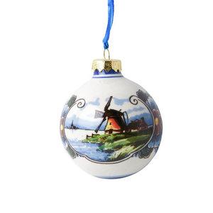 Typisch Hollands Kerstbal landschap kleur groot 7cm