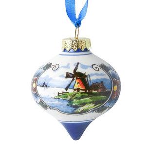 Typisch Hollands Kerstbal Druppel molen kleur