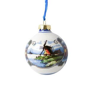 Heinen Delftware Kerstbal 5cm landschap kleur