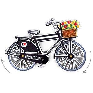 Typisch Hollands Magneet - Amsterdam fiets zwart draaiende wielen
