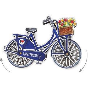 Typisch Hollands Magneet - Amsterdam fiets blauw draaiende wielen