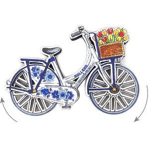 Typisch Hollands Magneet - Holland fiets blauw draaiende wielen