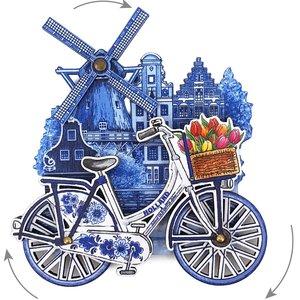 Typisch Hollands Magneet Holland molen fiets delftsblauw draaiende wielen