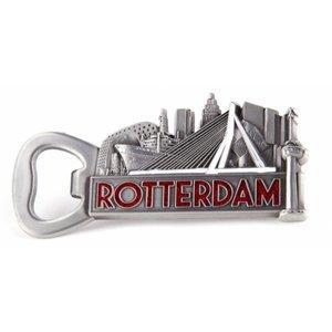 Typisch Hollands Opener magnet Rotterdam tin color