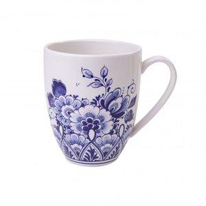 Heinen Delftware Kleine mok - Delfts blauw -met bloemendecoratie