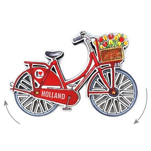 Typisch Hollands Magnet - Holland bicycle Red rotating wheels