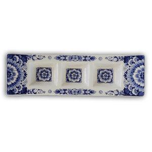 Heinen Delftware Delfts blauwe Tapas schaal - 3 vaks