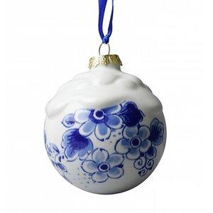 Heinen Delftware Delfts blauw gedecoreerde kerstbal (sneeuw)