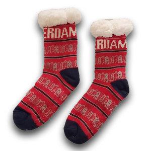 Holland sokken Fleece Comfortsokken - Gevelhuisjes - Rood