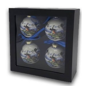 Typisch Hollands Polychrome Christmas baubles in gift box (4 pieces)