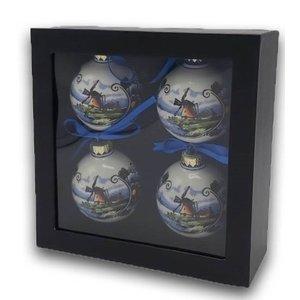 Typisch Hollands Polychrome kerstballen in geschenkdoos (4stuks)