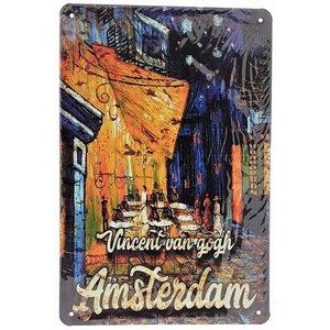 Typisch Hollands Wandplaat metaal - Vincent van Gogh - Terras -Amsterdam 20x30cm