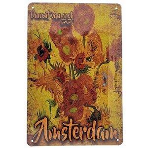 Typisch Hollands Wandplaat metaal - Vincent van Gogh - Zonnebloemen -Amsterdam  20x30cm