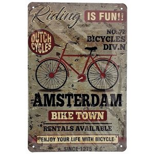 Typisch Hollands Wall plate metal - Bicycle -Amsterdam - Vintage 20x30 cm