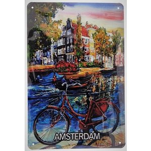 Typisch Hollands Wall plate metal - Bicycle -Amsterdam - 20x30 cm