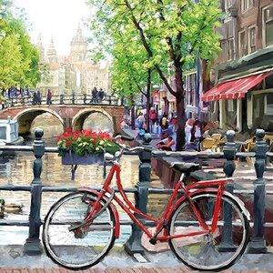 Typisch Hollands Servetten Amsterdam  Nostalgie-Fiets grachtengordel