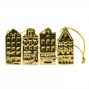 Typisch Hollands Christmas Decorations - Golden Houses (4pack)