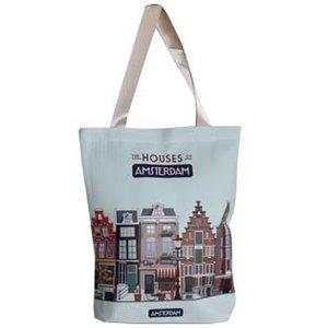 Typisch Hollands Boodschappen tas - Amsterdam Houses 33x40 cm.