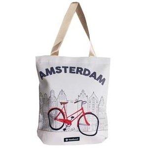 Typisch Hollands Boodschappen tas - Amsterdam fiets 33x40 cm.