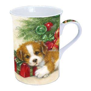 Typisch Hollands Christmas mug 0.25L with Dog & Christmas present