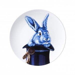 Heinen Delftware Delfts blauw bord - Konijn uit de hoge hoed