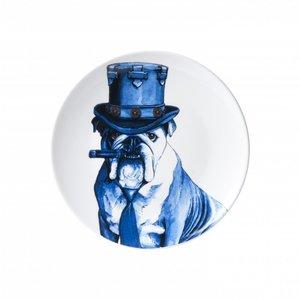 Heinen Delftware Delfts blauw bord -  Hond met hoed en sigaar