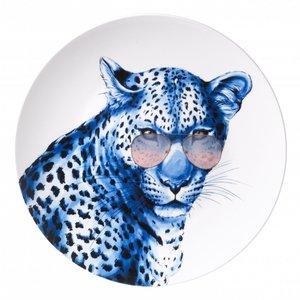 Heinen Delftware Delfts blauw bord - Een stoere luipaard met bril