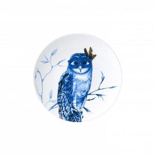 Heinen Delftware Delfts blauw bord -  Uil op tak