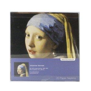 Typisch Hollands Luxe Servetten - Meisje met de parel + Ansichtkaart