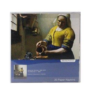Typisch Hollands Luxe Servetten -Meisje van Vermeer+ Ansichtkaart