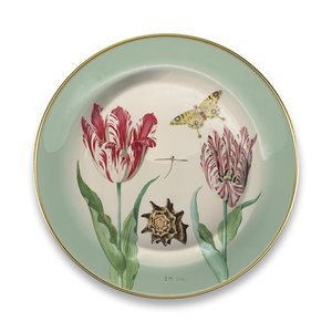Typisch Hollands Plate Marrel Tulips green Ø 16 cm - in gift packaging