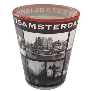 Typisch Hollands Shotglas Amsterdam- Rood- Zwart - Wit
