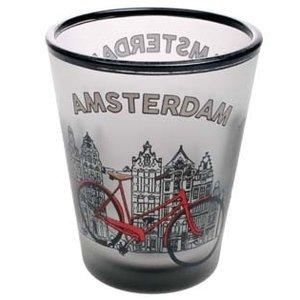 Typisch Hollands Shotglas Amsterdam-Fiets Amsterdam Frosted