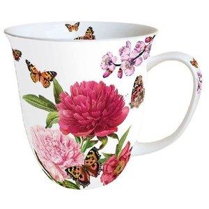 Typisch Hollands Mok - Porselein -  Pioenrozen - Vlinders