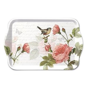 Typisch Hollands Tray- Rose branch and tit 21x14cm