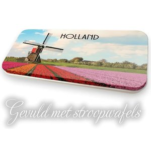 Stroopwafels (Typisch Hollands) Flat tin Holland - Mill landscape with syrup wafers (8 pieces)
