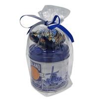 Stroopwafels (Typisch Hollands) Stroopwafels in Geschenkblik met Klompjes - Blauw