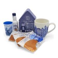 www.typisch-hollands-geschenkpakket.nl Geschenkset - Delfts blauw - Mok - Blik - Likeur en Stroopwafels