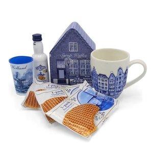 www.typisch-hollands-geschenkpakket.nl Cadeauset -Delfts blauw - Mok - Blik - Likeur en Stroopwafels