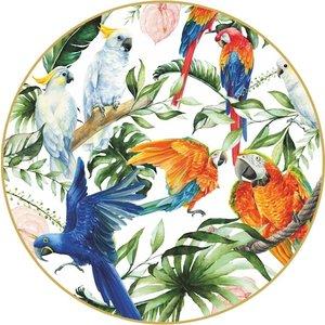 Heinen Delftware Wandbord  -  Papegaaien kleur 31,5 cm