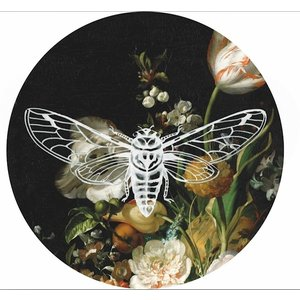 Heinen Delftware Wall plate - Fly large flower decoration 26.5cm