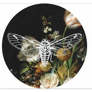 Heinen Delftware Wandbord  - Vlieg groot bloemdecoratie 26.5cm