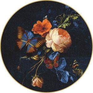 """Heinen Delftware Wall plate butterflies and flower """"golden age"""" 20 cm"""