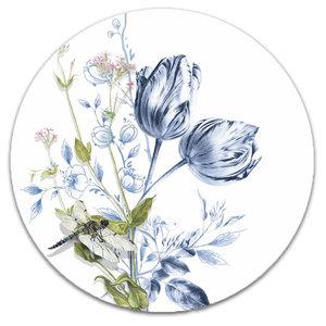 Heinen Delftware Wandbord  - Tulpen en een Libelle - 26,5 cm