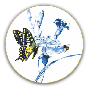 Heinen Delftware Wall plate butterfly and bee on carnation branch 15.5 cm