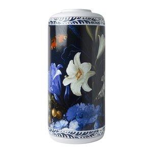 Heinen Delftware Stylish Cylinder vase Golden Age 30.5cm
