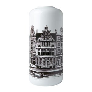 Heinen Delftware Stijlvolle Cilinder vaas Amsterdam grachtengordel 30.5cm